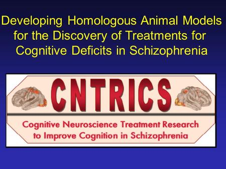 Developing Homologous Animal Models for the Discovery of Treatments for Cognitive Deficits in Schizophrenia.