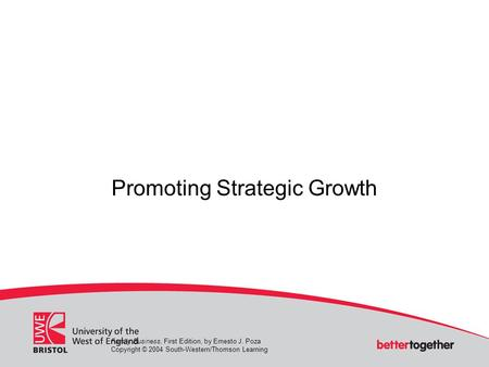 Promoting Strategic Growth Family Business, First Edition, by Ernesto J. Poza Copyright © 2004 South-Western/Thomson Learning.