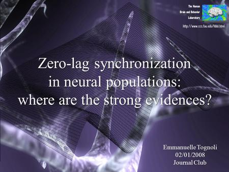 Zero-lag synchronization in neural populations: where are the strong evidences? The Human Brain and Behavior Laboratory Emmanuelle Tognoli 02/01/2008 Journal.