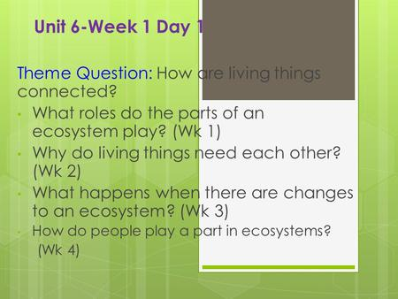 Unit 6-Week 1 Day 1 Theme Question: How are living things connected? What roles do the parts of an ecosystem play? (Wk 1) Why do living things need each.