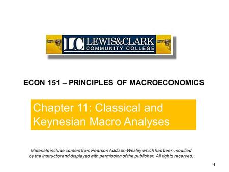 Chapter 10 1 Chapter 11: Classical and Keynesian Macro Analyses End of Chapter 10 1 ECON 151 – PRINCIPLES OF MACROECONOMICS Materials include content from.