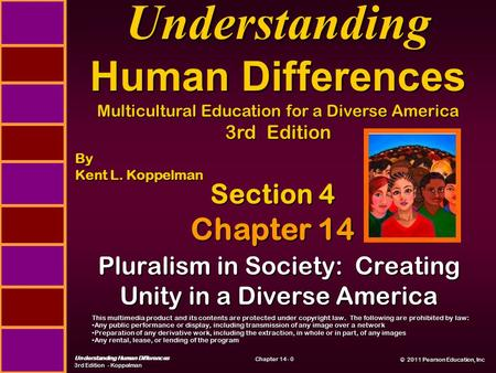 © 2011 Pearson Education, Inc © 2011 Pearson Education, Inc Understanding Human Differences 3rd Edition - Koppelman Chapter 14 - 0 Pluralism in Society: