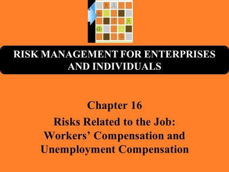 RISK MANAGEMENT FOR ENTERPRISES AND INDIVIDUALS Chapter 16 Risks Related to the Job: Workers' Compensation and Unemployment Compensation.