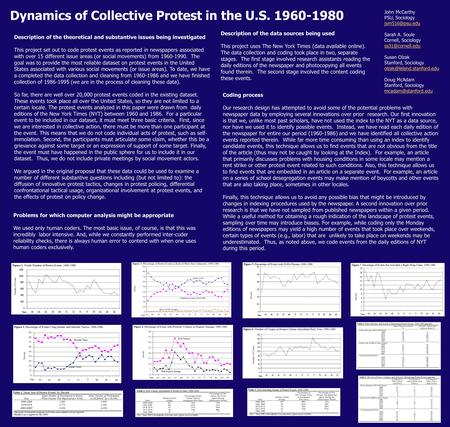 Dynamics of Collective Protest in the U.S. 1960-1980 John McCarthy PSU, Sociology Sarah A. Soule Cornell, Sociology Susan.