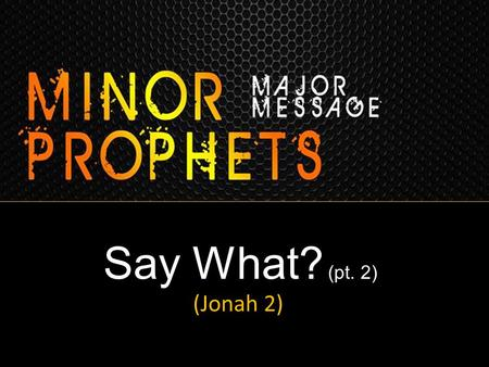Say What? (pt. 2) (Jonah 2). SAY WHAT??? Go to Ninevah? God's Prophet Refuses? God's Prophet is Angry & Prejudiced? God's Prophet would Rather Die than.