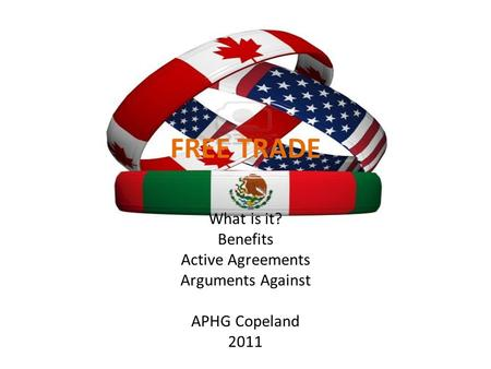 FREE TRADE What is it? Benefits Active Agreements Arguments Against APHG Copeland 2011.