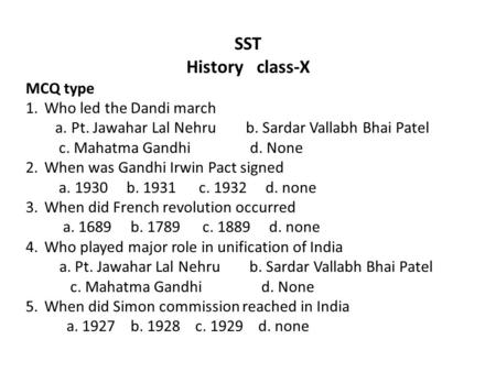SST History class-X MCQ type Who led the Dandi march