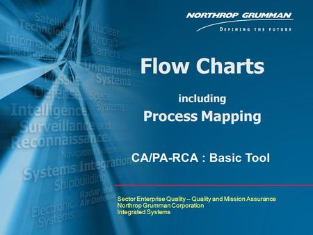 Flow Charts including Process Mapping Sector Enterprise Quality – Quality and Mission Assurance Northrop Grumman Corporation Integrated Systems CA/PA-RCA.