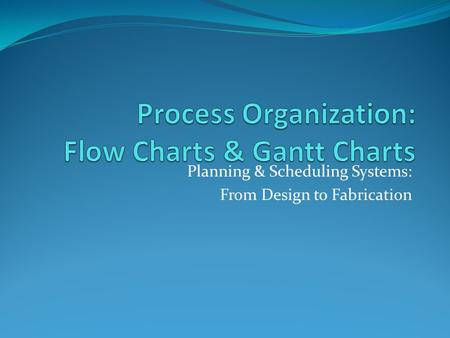 Planning & Scheduling Systems: From Design to Fabrication.