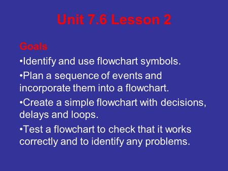 Unit 7.6 Lesson 2 Goals Identify and use flowchart symbols. Plan a sequence of events and incorporate them into a flowchart. Create a simple flowchart.