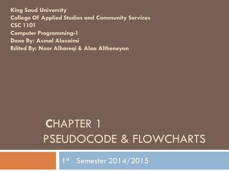 Chapter 1 Pseudocode & Flowcharts