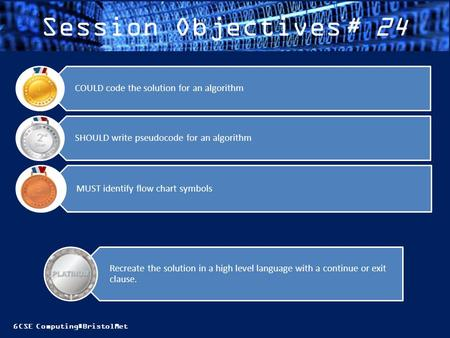 Session Objectives# 24 COULD code the solution for an algorithm