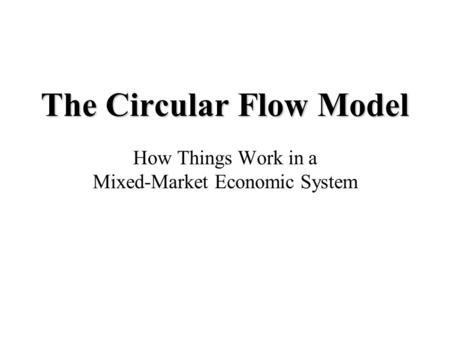 The Circular Flow Model How Things Work in a Mixed-Market Economic System.