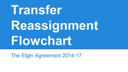 Transfer Reassignment Flowchart The Elgin Agreement 2014-17.