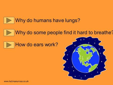 www.ks1resources.co.uk Why do humans have lungs? Why do some people find it hard to breathe? How do ears work?