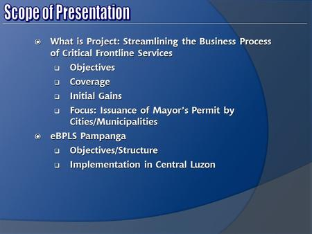  What is Project: Streamlining the Business Process of Critical Frontline Services  Objectives  Coverage  Initial Gains  Focus: Issuance of Mayor's.