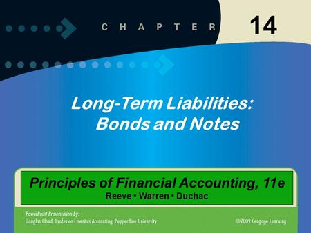 14 Long-Term Liabilities: Bonds and Notes