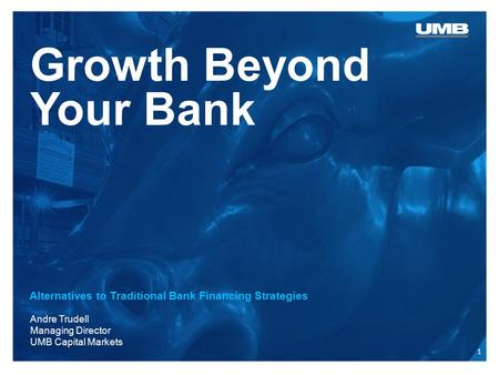 Growth Beyond Your Bank Alternatives to Traditional Bank Financing Strategies Andre Trudell Managing Director UMB Capital Markets 1.