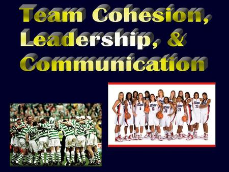 " "" Team chemistry "" 3Group sticks together / remains united in pursuit of common goals 3Sense of belonging 3 Made up of: 3Task cohesion 3Social cohesion."