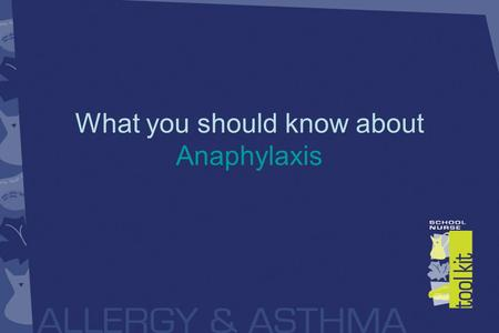 What you should know about Anaphylaxis. Anaphylaxis Is a severe allergic reaction Involves more than one bodily system, for example the skin and respiratory.