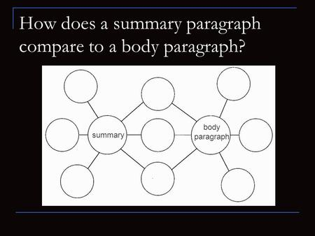 How does a summary paragraph compare to a body paragraph? summary body paragraph.