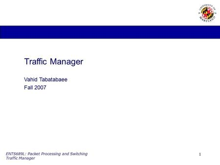 Traffic Manager Vahid Tabatabaee Fall 2007.