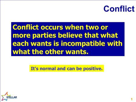 11 Conflict Conflict occurs when two or more parties believe that what each wants is incompatible with what the other wants. It's normal and can be positive.