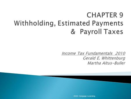Income Tax Fundamentals