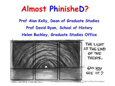 Almost PhinisheD? Prof Alan Kelly, Dean of Graduate Studies Prof David Ryan, School of History Helen Buckley, Graduate Studies Office.
