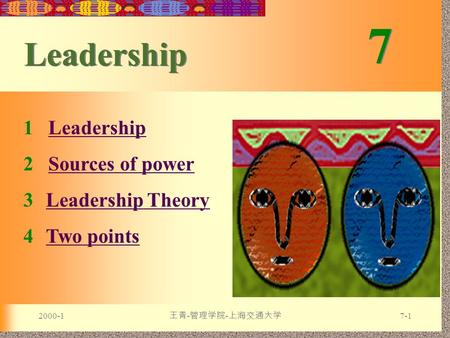 2000-1 王青 - 管理学院 - 上海交通大学 7-1 7 7 Leadership 1 LeadershipLeadership 2 Sources of powerSources of power 3Leadership TheoryLeadership Theory 4Two pointsTwo.