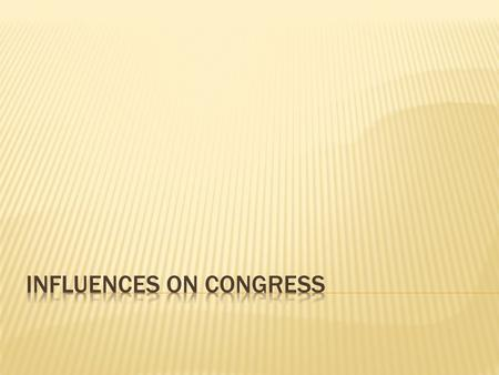 Influences on Congress