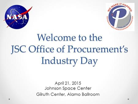 Welcome to the JSC Office of Procurement's Industry Day