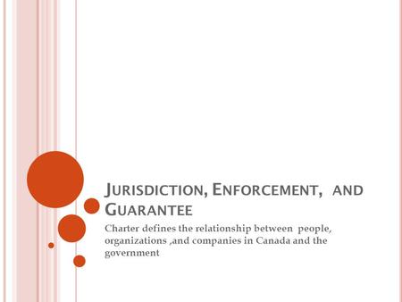 J URISDICTION, E NFORCEMENT, AND G UARANTEE Charter defines the relationship between people, organizations,and companies in Canada and the government.