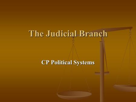 The Judicial Branch CP Political Systems.