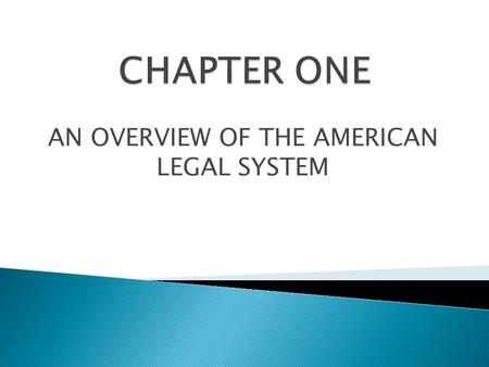 AN OVERVIEW OF THE AMERICAN LEGAL SYSTEM.  Branches of Government  Legislative  Executive  Judicial  Levels of Government  Local  State  Federal.