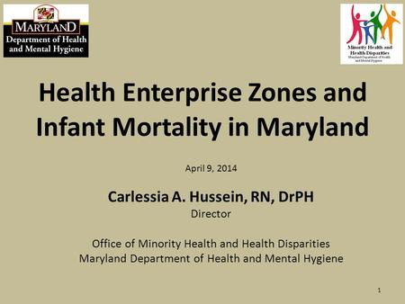 Health Enterprise Zones and Infant Mortality in Maryland April 9, 2014 Carlessia A. Hussein, RN, DrPH Director Office of Minority Health and Health Disparities.