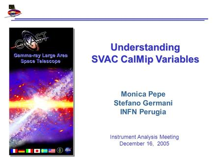 Gamma-ray Large Area Space Telescope Understanding SVAC CalMip Variables Monica Pepe Stefano Germani INFN Perugia Instrument Analysis Meeting December.