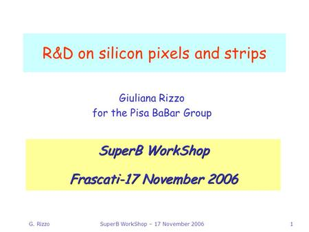 G. RizzoSuperB WorkShop – 17 November 20061 R&D on silicon pixels and strips Giuliana Rizzo for the Pisa BaBar Group SuperB WorkShop Frascati-17 November.