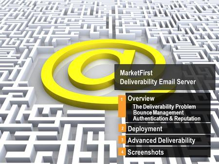 MarketFirst Deliverability Email Server Overview The Deliverability Problem Bounce Management Authentication & Reputation 1 Advanced Deliverability 3 Screenshots.