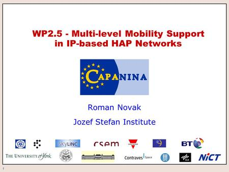 1 WP2.5 - Multi-level Mobility Support in IP-based HAP Networks Roman Novak Jozef Stefan Institute.