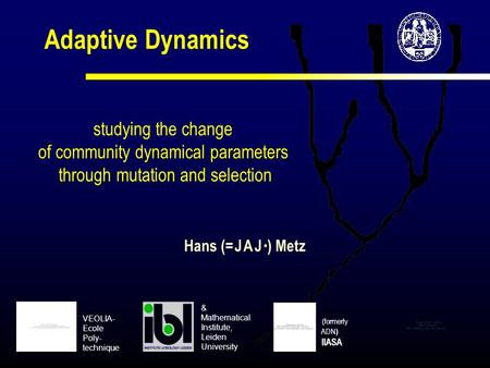 Adaptive Dynamics studying the change of community dynamical parameters through mutation and selection Hans (= J A J * ) Metz (formerly ADN ) IIASA VEOLIA-