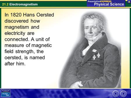 In 1820 Hans Oersted discovered how magnetism and electricity are connected. A unit of measure of magnetic field strength, the oersted, is named after.