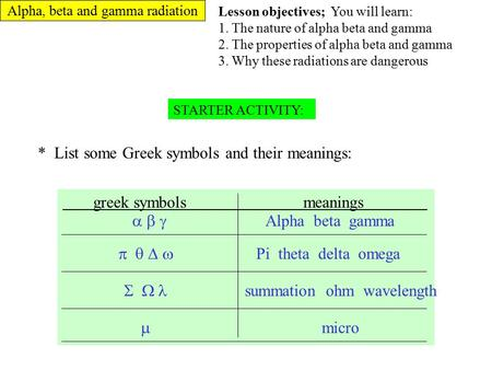 Alpha, beta and gamma radiation STARTER ACTIVITY: * List some Greek symbols and their meanings: greek symbols meanings      Alpha beta gamma  