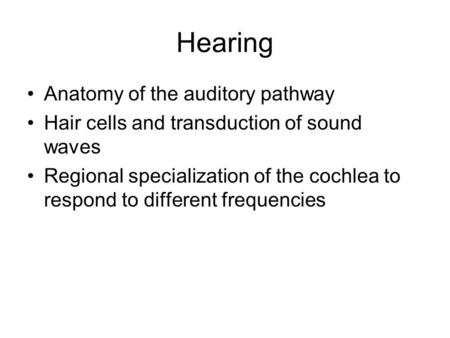 Hearing Anatomy of the auditory pathway Hair cells and transduction of sound waves Regional specialization of the cochlea to respond to different frequencies.