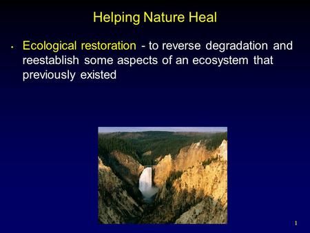 1 Helping Nature Heal Ecological restoration - to reverse degradation and reestablish some aspects of an ecosystem that previously existed.