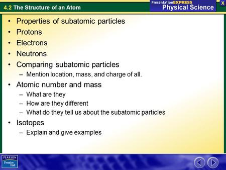 Properties of subatomic particles Protons Electrons Neutrons