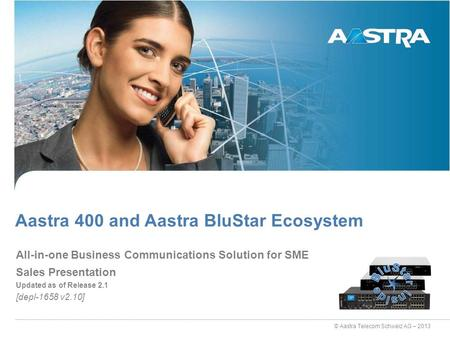 © Aastra Telecom Schweiz AG – 2013 Sales Presentation Updated as of Release 2.1 [depl-1658 v2.10] Aastra 400 and Aastra BluStar Ecosystem All-in-one Business.