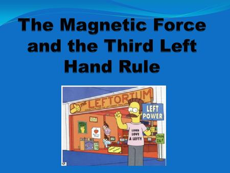 The Magnetic Force and the Third Left Hand Rule