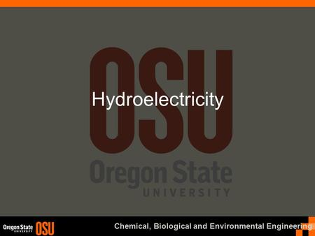 Chemical, Biological and Environmental Engineering Hydroelectricity.