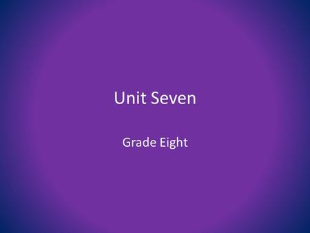 Unit Seven Grade Eight. 1. acme (n) the highest point syn: summit, top, peak, pinnacle ant: low point, bottom, nadir.